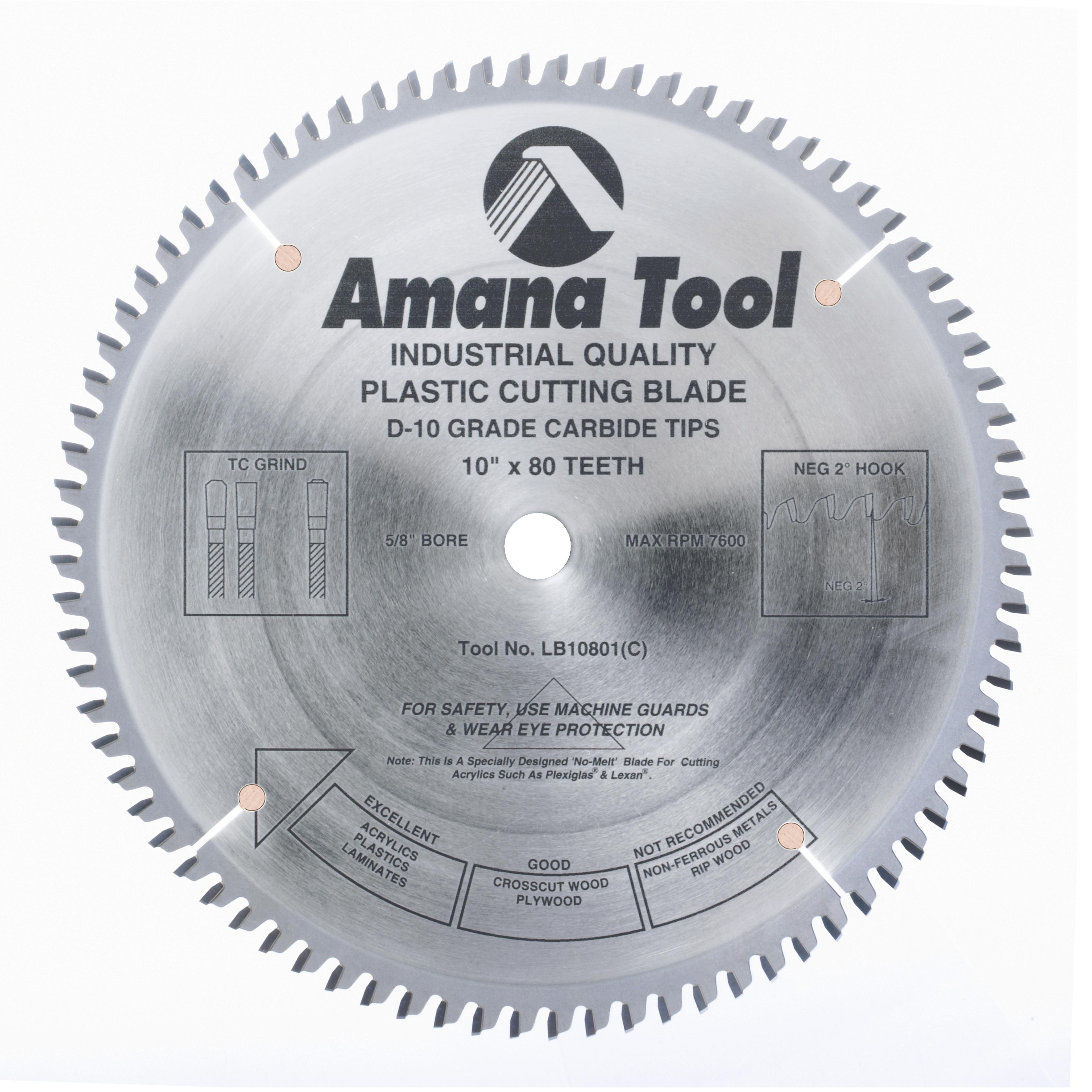 Amana Tool LB10801 Carbide Tipped Non-Melt Plastic 10 Inch Dia x 80T M-TCG, -2 Deg, 5/8 Bore