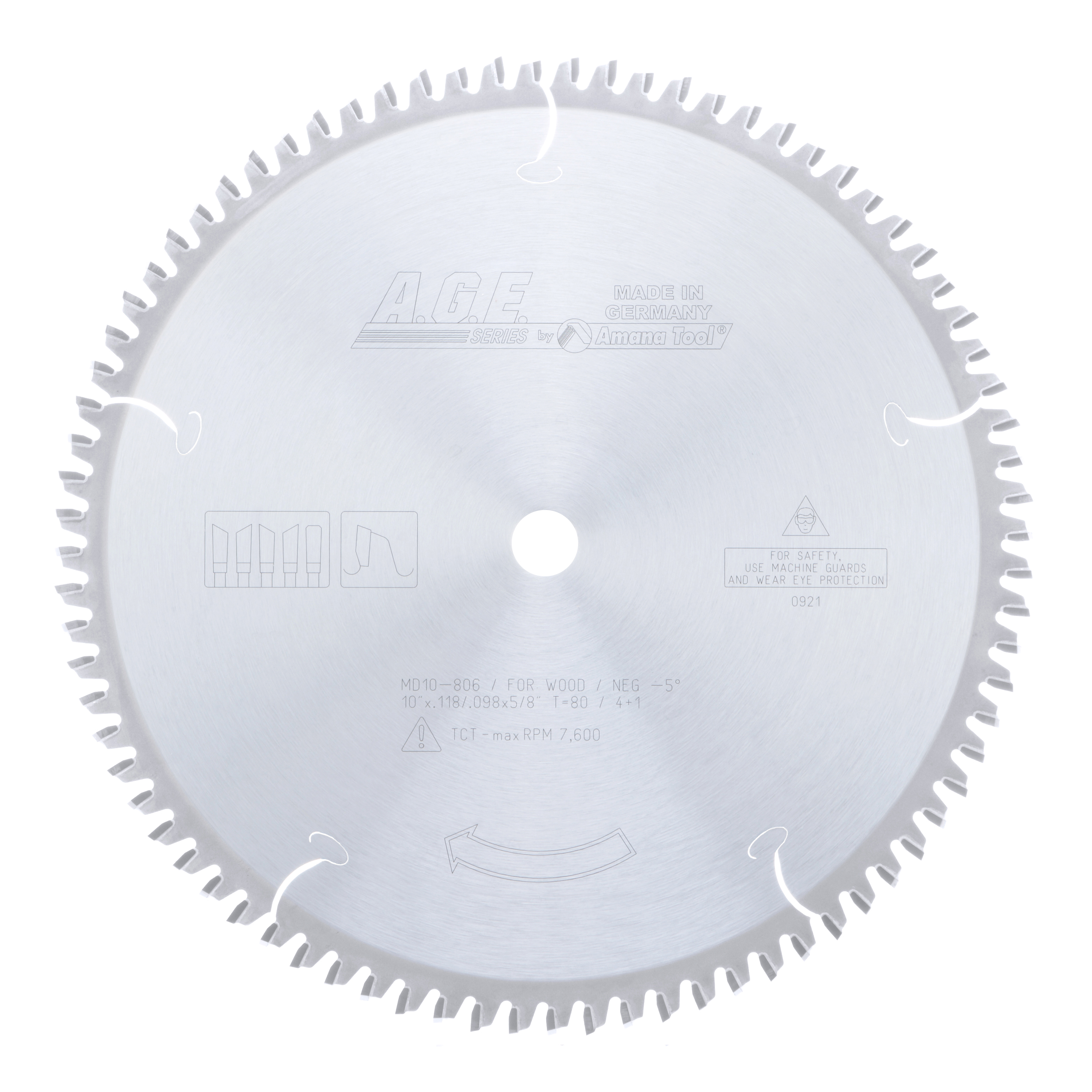 Amana Tool MD10-806 Carbide Tipped Heavy-Duty Miter/Double Miter 10 Inch Dia x 80T 4+1, -5 Deg, 5/8 Bore Circular Saw Blade