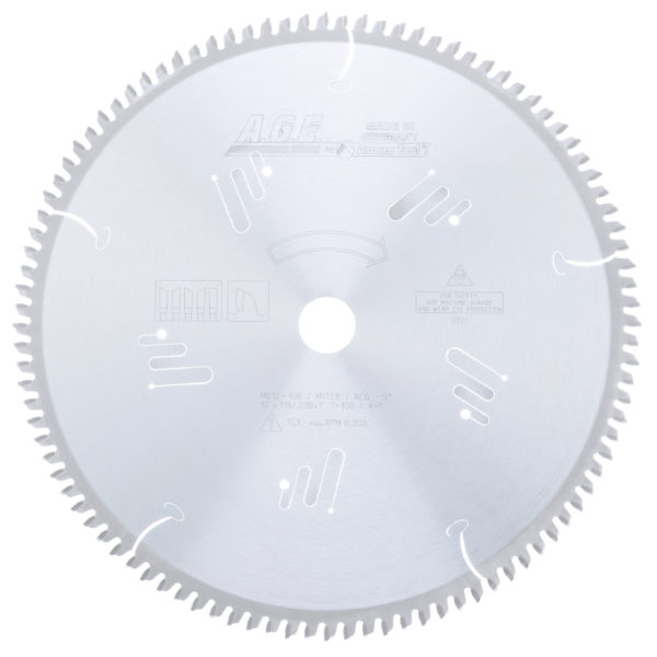 Amana Tool MD12-106 Carbide Tipped Heavy-Duty Miter/Double Miter 12 Inch Dia x 100T 4+1, -5 Deg, 1 Inch Bore Circular Saw Blade