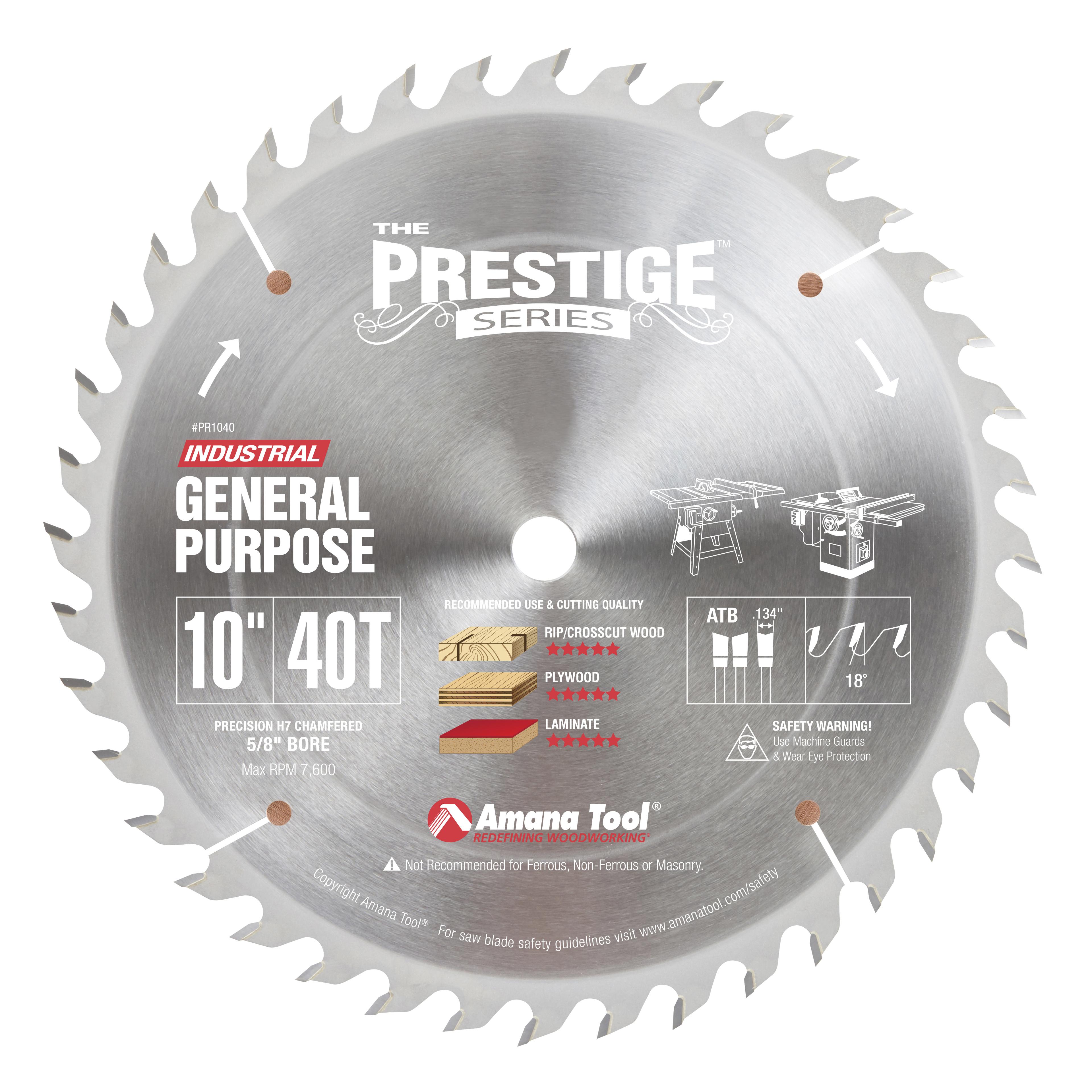 Amana Tool PR1040 Carbide Tipped Prestige 10 Inch Dia 40T ATB, 18 Deg, 5/8 Bore