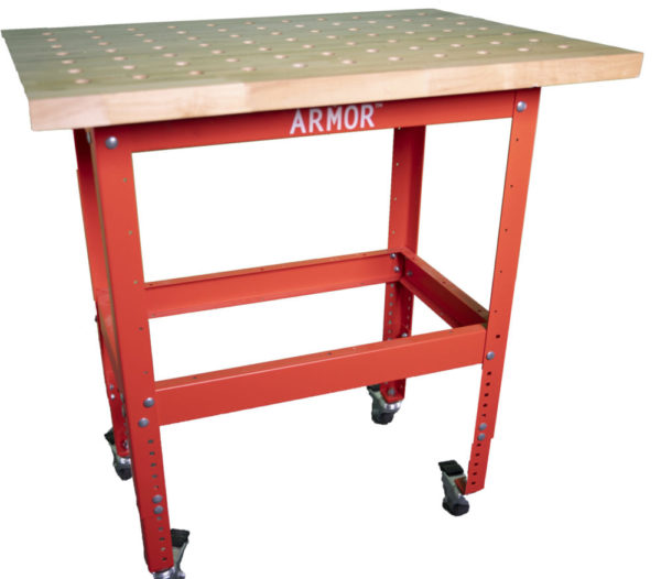 Armor Tool Butcher Block Dog Hole Table with Stand BBTKIT-3625