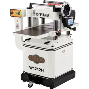 """Shop Fox W1742H—15"""" Planer with Built-in Mobile Base and Helical Cutterhead"""